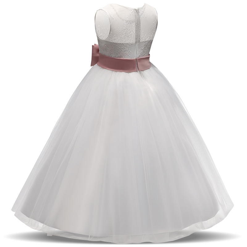 04daf1d2b2 Summer Baby Elegant Dresses for Girls Communion Graduation Ceremony White  Tulle Gown Party Long Prom Gowns 14T Teenager Dress
