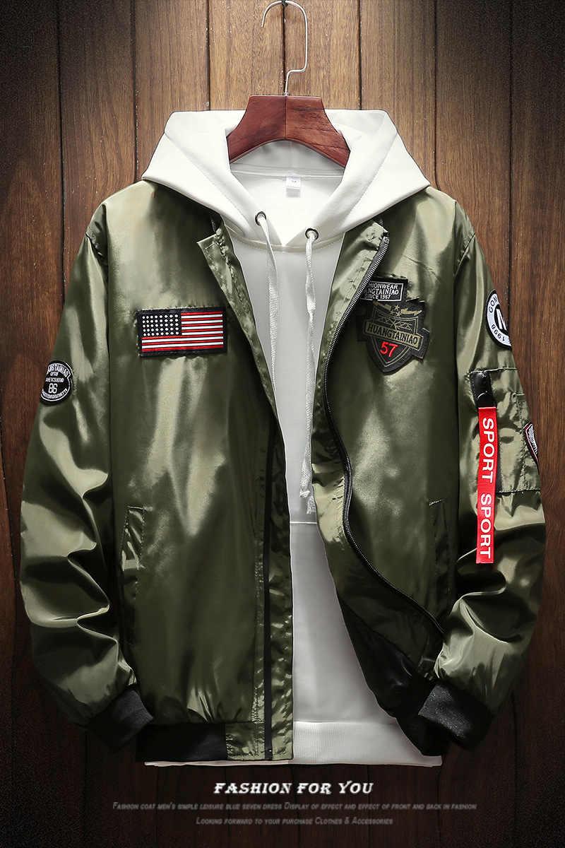 Mens Bomber Jas Mannen Mode Amerikaanse Vlag Patch Ontwerpen Piloot Jas Linten Rits Zak Baseball Uniform Mannelijke Jas