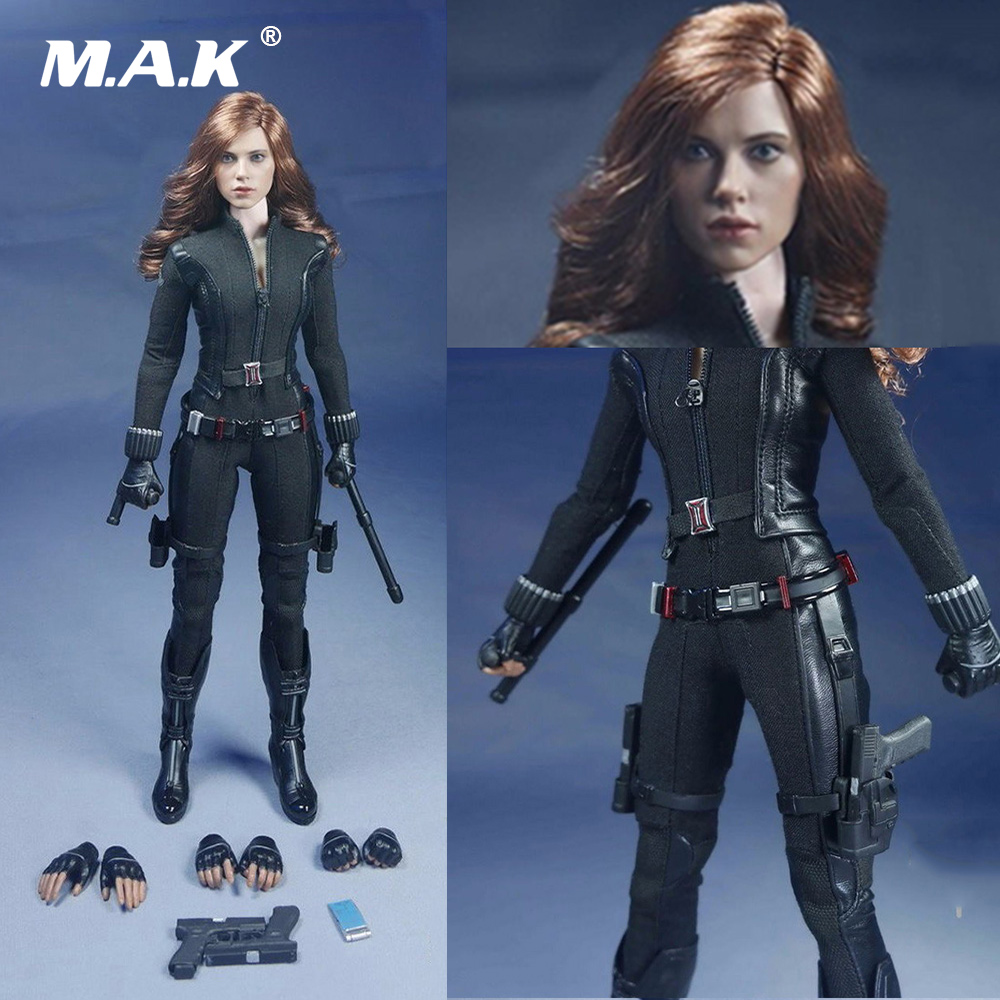 1/6 Scale Female Action Figure Clothing Scarlett Johansson Black Widow Costume Suits with Head for 12 inches Woman Figure Body jamo 60v 72v