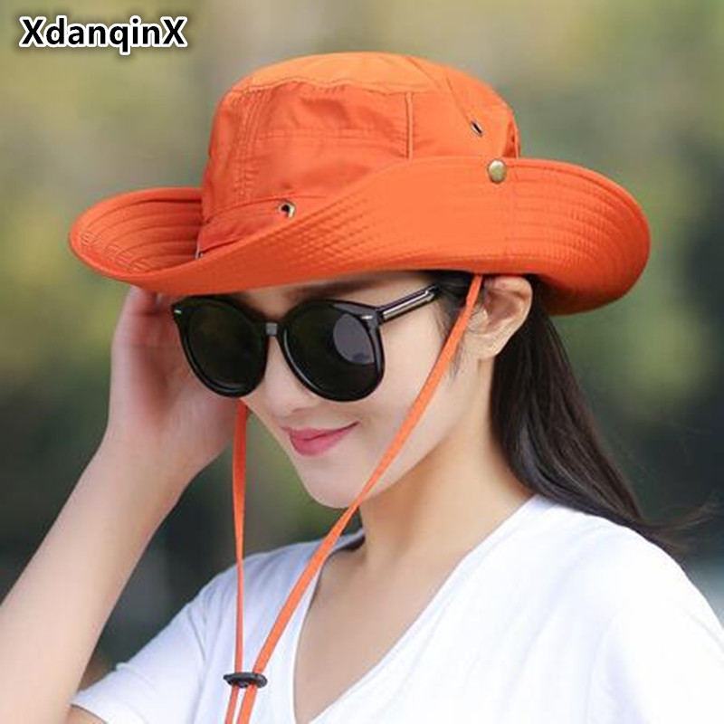 XdanqinX Foldable Adult Lady Summer Cotton Breathable Bucket Hats Wind Rope Fixed Adjustable Sunscreen UV Protection Sun Hat