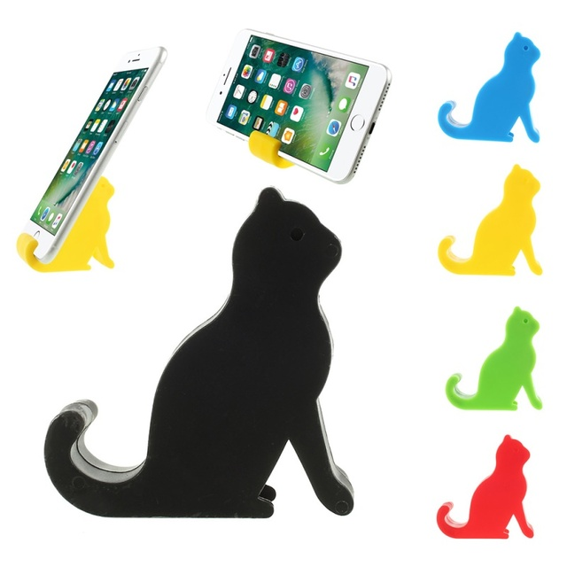Dulcii Universal Cat Pattern Plastic Desktop Phone Holder Stand for iPhone for Samsung for Huawei Smartphone