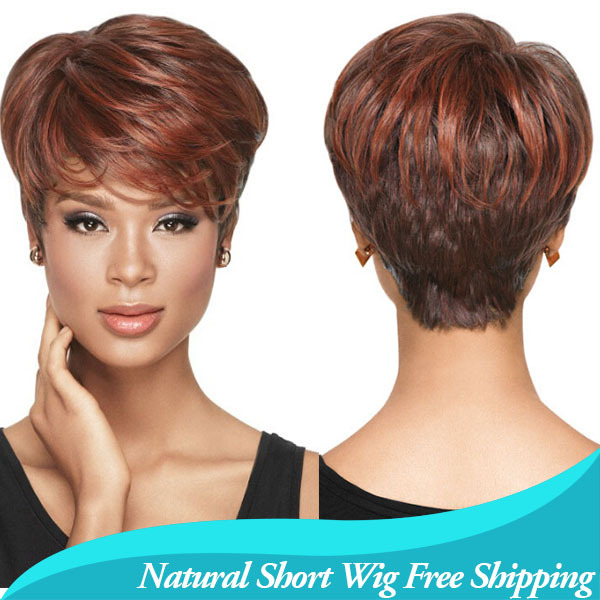 1PC African American Short Hairstyles Wigs For Black Women Synthetic  Quality Assurance Wavy Auburn Kanekalon U Part Wig 8ffb09efc9