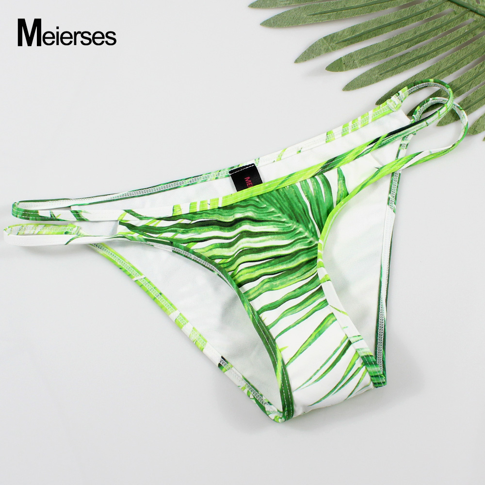 MEIERSES 10 Colors Sexy Women Swimwear Briefs Cut Out Side Low Waist Soft Bikini Separates For Ladies Swim Female Bikini Bottoms - Цвет: Green Floral Print