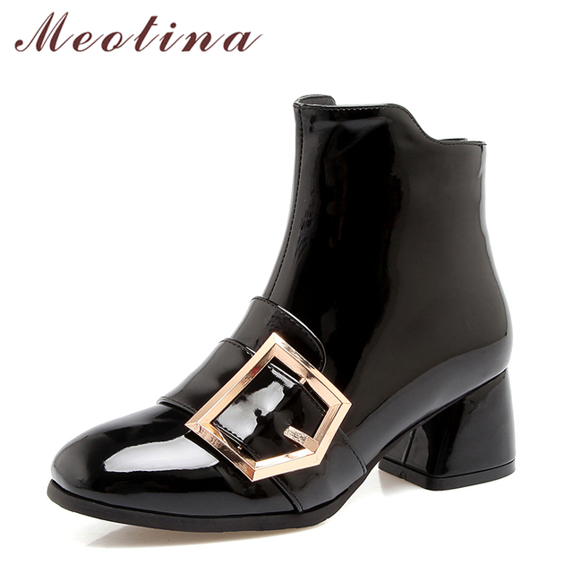 Meotina Women Ankle Boots Thick Heels Winter Shoes Zip Buckle PU Patent Leather Short Boots Autumn Black White Plus Size 33-46
