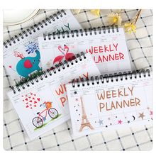4 Color Cute Kawaii Cartoon Weekly Planner 100 pages Coil Notebook Diary Sketchbook For School Supplies Stationery Store