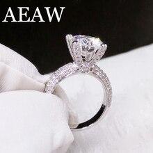 固体 18 18K ホワイトゴールド AU750 3ct ラウンドカット DF モアッサナイト婚約指輪周年記念リングゴールドモアッサナイトリング