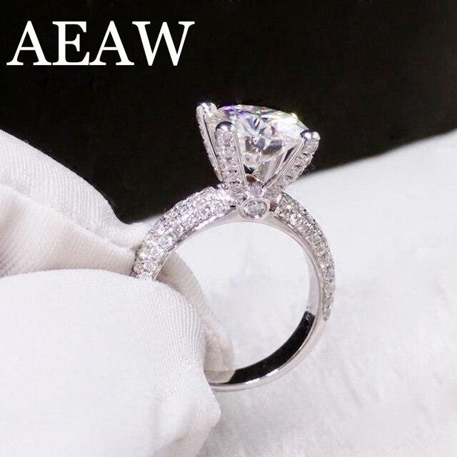 מוצק 18K זהב לבן AU750 3ct עגול לחתוך DF Moissanite אירוסין טבעות יום נישואים טבעת Moissanite טבעת לנשים