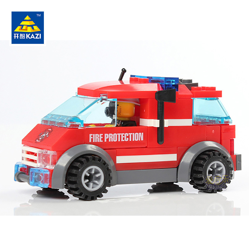 KAZI Fire Truck Toy Vehicle Model Building Blocks Brinquedos Educational Toys for Kids Intelligence Brick 6+Ages 83pcs 8057 brand new yuxin zhisheng huanglong high bright stickerless 9x9x9 speed magic cube puzzle game cubes educational toys for kids