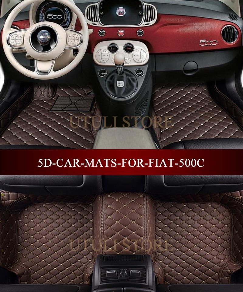 leder auto boden matten fur fiat 500 500c 3d custom fit auto teppiche fuss matten liner