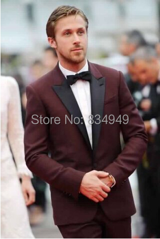 Marrón chaqueta de esmoquin Borgoña oscuro smoking trajes de boda para los  hombres por encargo marrón 39f9b2a7a31