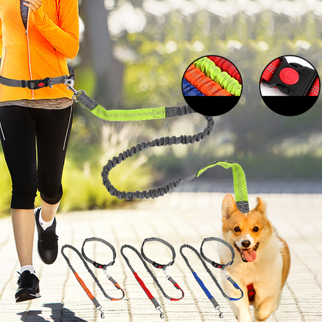 Hands Free Dogs Leash Running Elasticity Pet Products Dogs Harness Collar Jogging Lead Adjustable Waist Rope With Phone Pouch Home & Garden