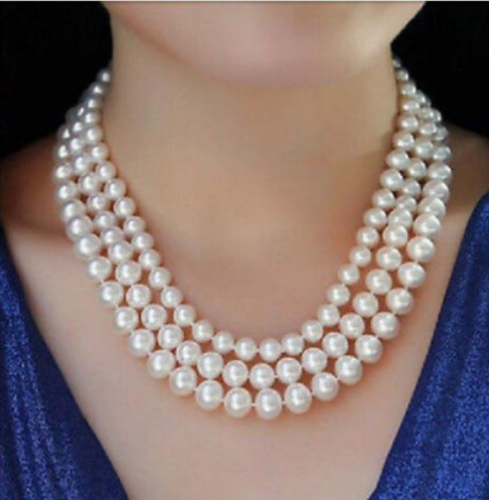 Nouveau 3row 8-10mm blanc perle necklace17-19inch AANouveau 3row 8-10mm blanc perle necklace17-19inch AA