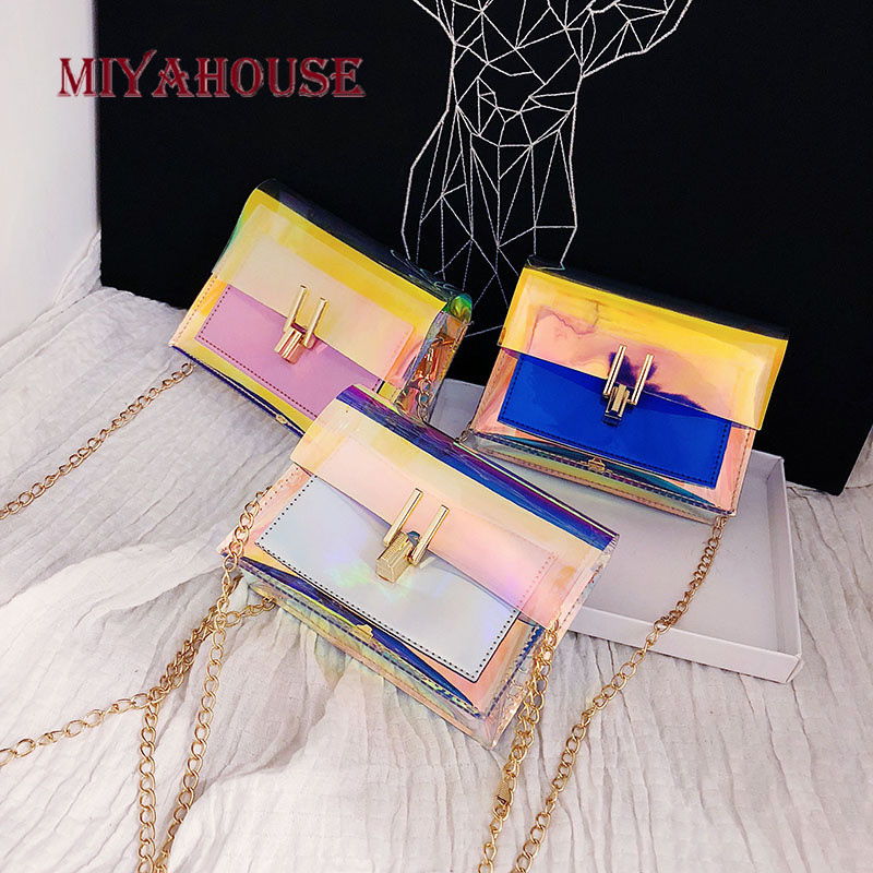 Miyahouse Flap-Bag Messenger-Bags Jelly Chain-Design Transparent Small Portable Simple