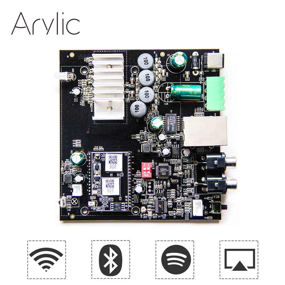 Up2stream WiFi and Bluetooth HiFi Stereo Class D digital multiroom audio amplifier board with Spotify Airplay