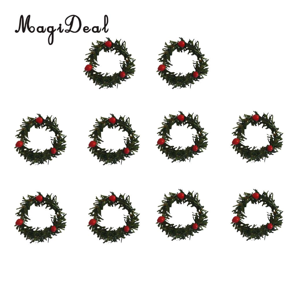 MagiDeal 10 Pcs/Lot Christmas Wreath Garland w/ Berry XmasTree Hanging Ornament Decoration