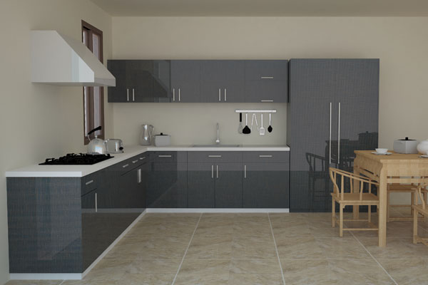 kitchen cabinet set white backsplash pictures grey flat design high gloss in cabinets