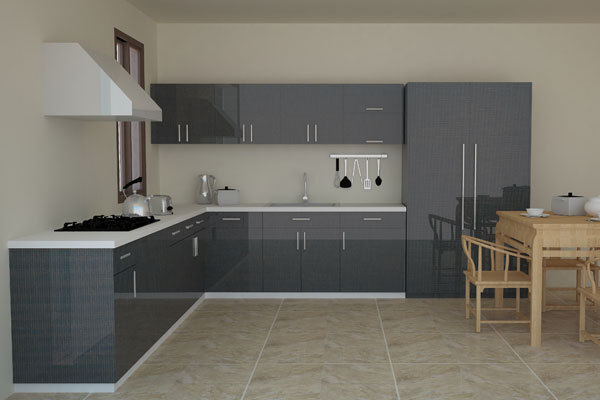 Grey Flat Design High Gloss Kitchen Cabinet Set In Kitchen Cabinets