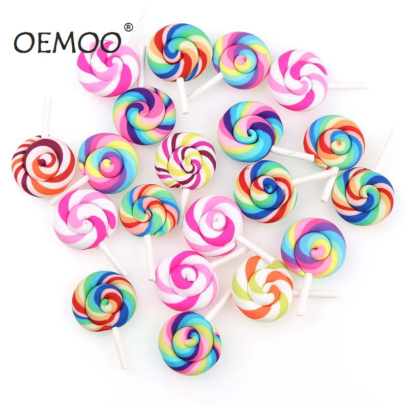 10pcs Spiral Rainbow Polymer Clay Cabochons  Beauty Kawaii  Lollipop Candy  Flatback For DIY Phone Decoration