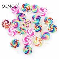 10pcs Spiral Rainbow Polymer Clay Cabochons Beauty Kawaii lollipop Candy Flatback For DIY Phone Decoration