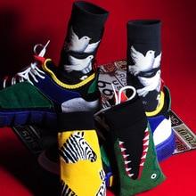 V-Hanver Men Fashion Harajuku Printing Cartoon Crocodile Shark Zebra Flower Bird Colorful Socks Soft Comfort Cotton Happy