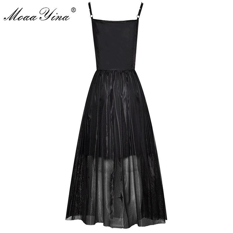 Moaayina 패션 디자이너 런웨이 드레스 봄 여름 여성 드레스 스파게티 스트랩 자수 스팽글 블랙 파티 우아한 드레스-에서드레스부터 여성 의류 의  그룹 2