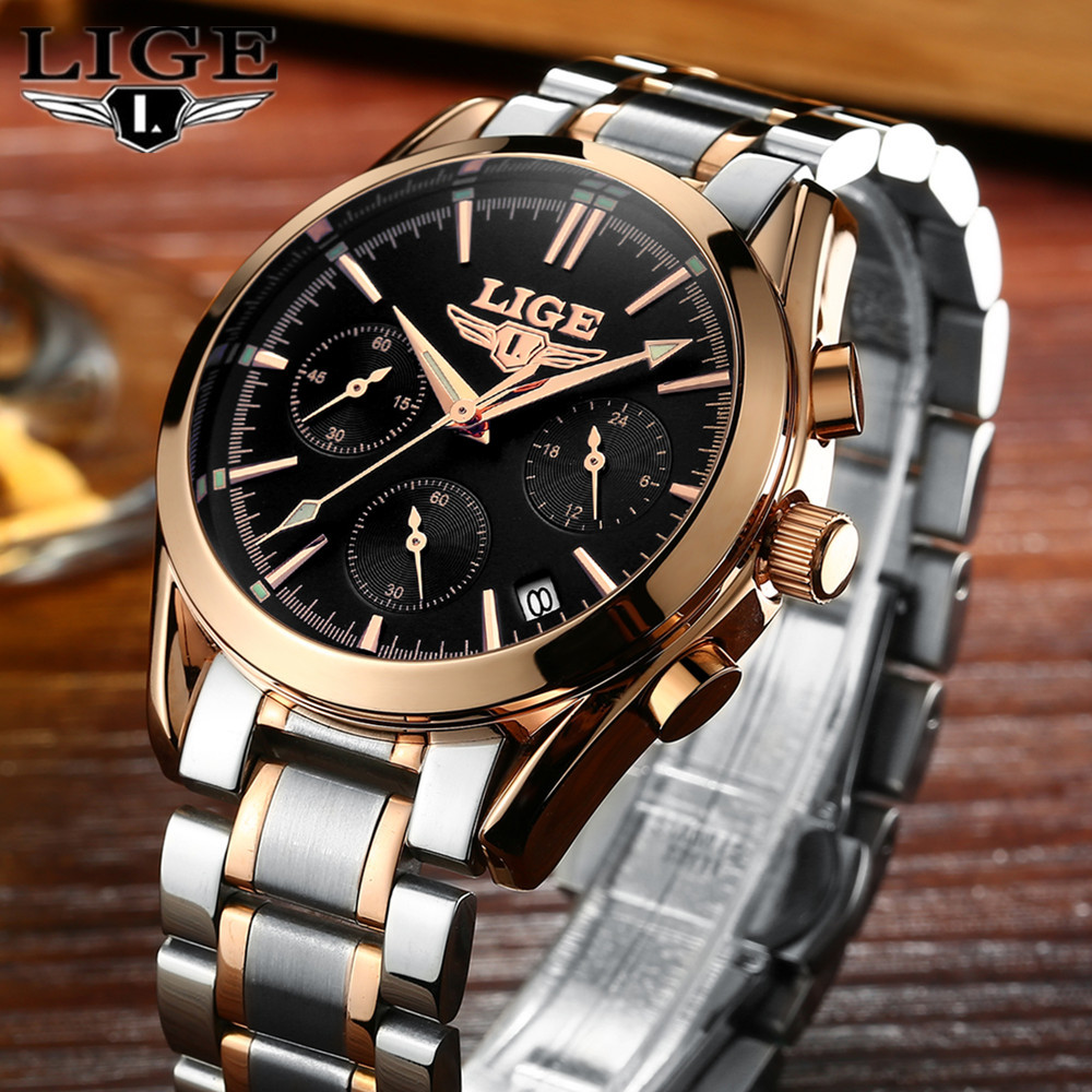 LIGE Mens Watches Top Brand Luxury Full Steel Clock Sport