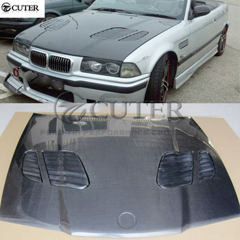 E36 3 series Coupe M3 style Carbon Fiber Front engine Hood Bonnets engine Covers with vents for BMW E36 325i Coupe 92-99 image