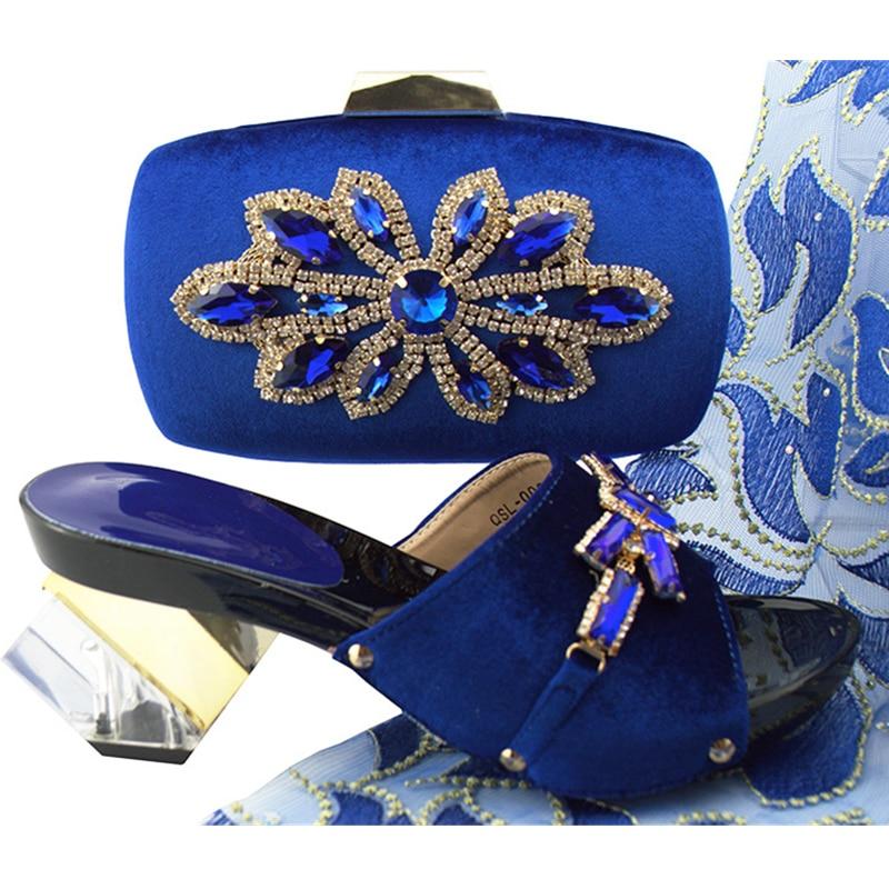 Las sliver Zapatos Rhinestone En Conjunto Nigeriano Italianos Mujeres Green Negro royal Decorado Y Boda sky Blue Bolsa d Tacones Con Bombas Blue Deslizamiento peach De Altos gold magerta qq1vOrY
