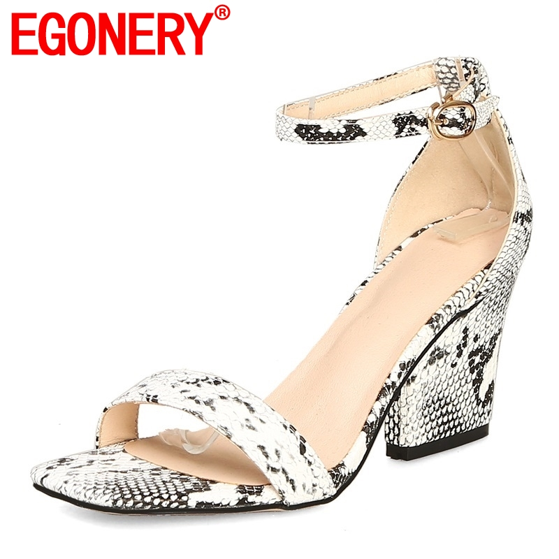 EGONERY shoes woman summer new fashion open toe snakeskin pattern woman sandals super high strange style