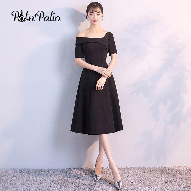 Elegant Classy Black Evening Dress 2018 Sexy One Shoulder Brief
