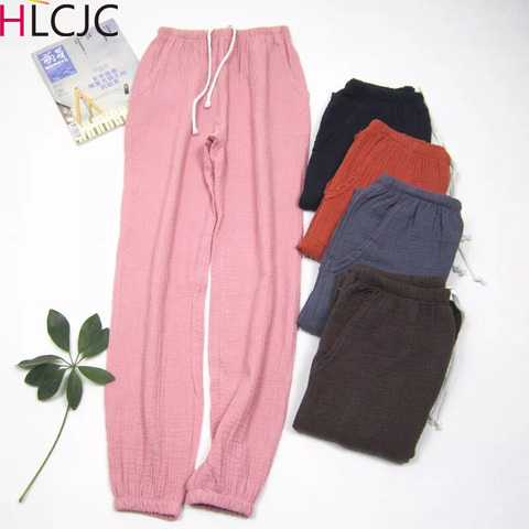 Women Bottoms 100% Cotton Pleated Fabric Sleep Pants Pajama Trousers Solid  Female Pajamas Pants Womens Lounge Wear Pijama Mujer Pakistan
