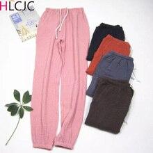 Women Bottoms 100% Cotton Pleated Fabric Sleep Pants Pajama Trousers Solid Femal