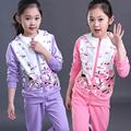 2016 Muchachas Del Otoño Ropa Chaqueta Floral Cabritos de Los Hoodies + Pants Niños Chándal Para Niñas Ropa Establece Sport Girls Juego de Edad 3 T-15 T