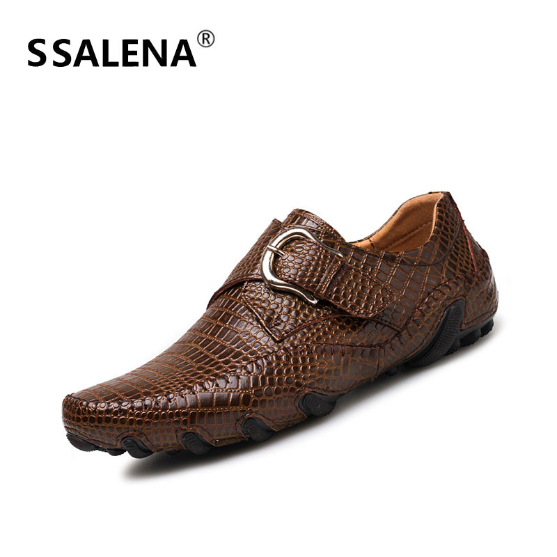 Escritório Sobre marrom Impressão Sapatos Sole Deslizar Borracha Aa60837 Plana Confortável Homens De Crocodilo Preto Casuais Negócios Calçado Fivela Macia Uq7YHY