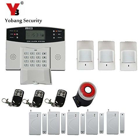 YobangSecurity English Russian Spanish French Voice LCD Dispaly Home Security Wireless GSM Alarm System with Keyboard yobangsecurity dual network gsm pstn home security alarm system lcd keyboard english spanish russian voice prompt alarm sensor