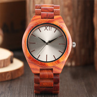 2017 New Arrival Modern Fashion Red Wood Men's Quartz Watch Full Hand made Wooden Nature Casual Male Best Gift Reloj masculino