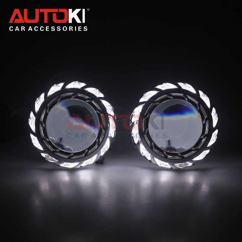 AUTOKI 2018 New Turbine 3.0 inch Super Full Metal H1 with CCFL Angel eyes Bi-xenon Projectors lens for H4 H7 9005 9006 headlight
