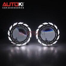 AUTOKI 2018 Yeni Türbin 3.0 inç Süper Tam Metal H1 CCFL Melek gözler bi xenon Projektör lens h4 H7 9005 9006 far