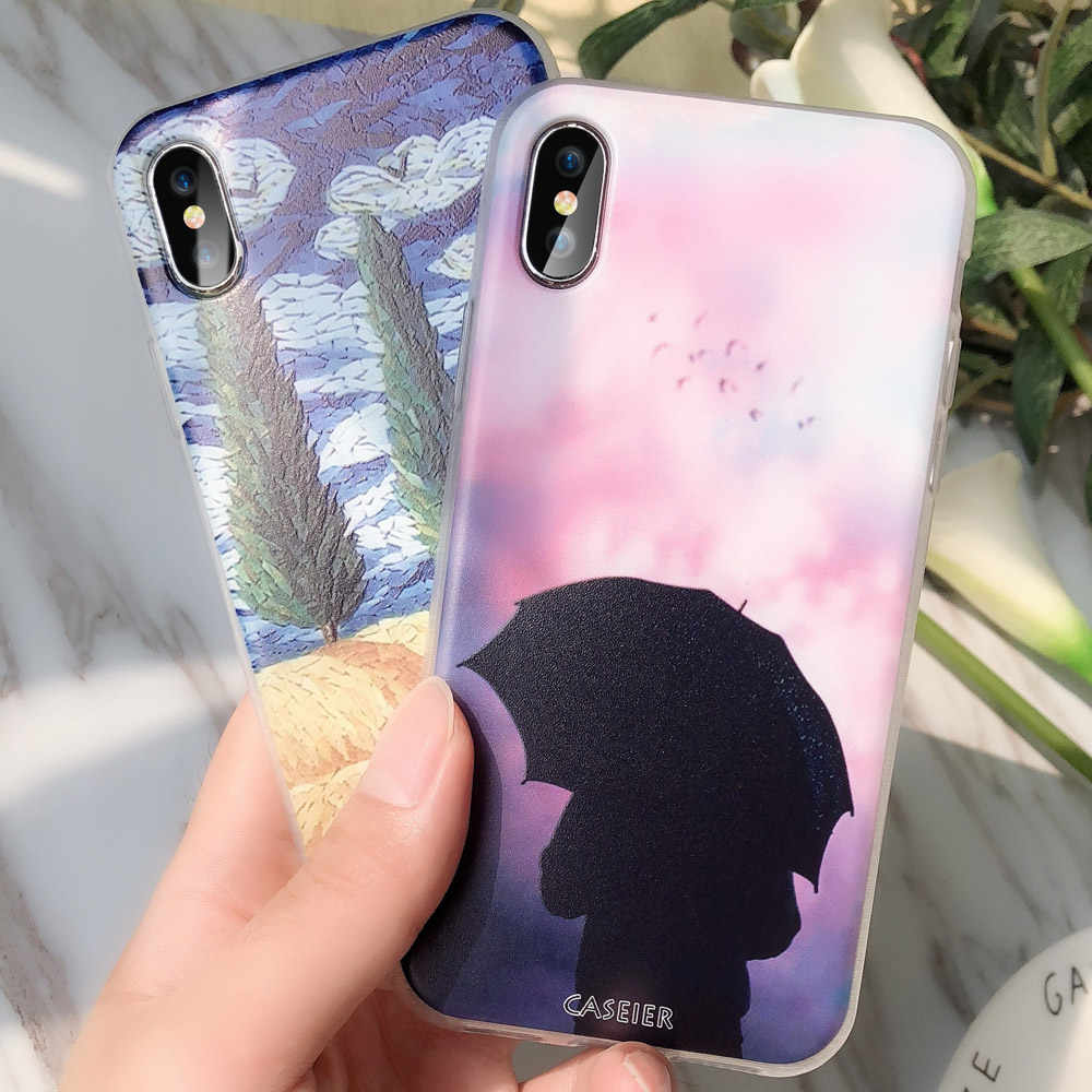 CASEIER INS Sight Case For iPhone X 8 7 6 6s 5 5s Plus Soft Silicon Case For Huawei P10 P20 Lite Honor 8 9 Lite For OnePlus3 5