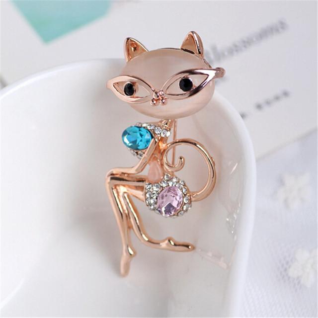 Elegant Crystal Lady Cat Brooch