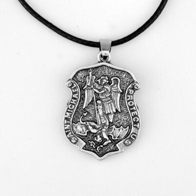 50pcs God Protect Necklace Saint Michael The Archangel Protect Us Pendant Necklace Talisman Amulet Necklace Spirit Jewelry