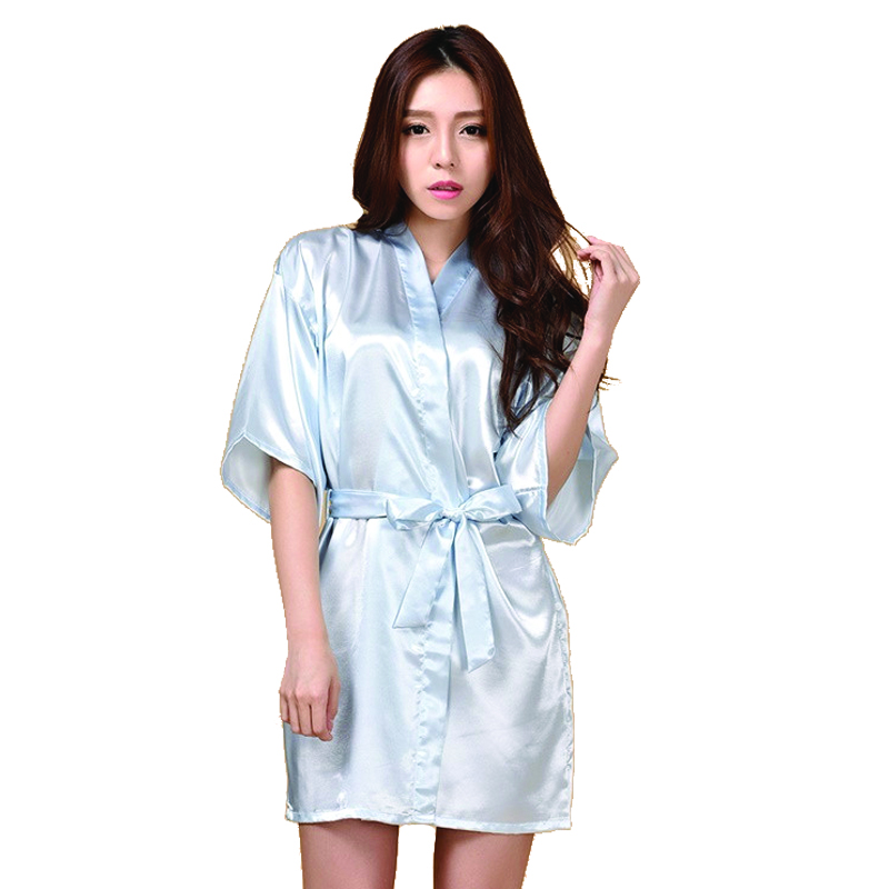 authentic most desirable fashion browse latest collections US $10.45 45% OFF|New Fashion Light Blue Satin Bridesmaid Robes,White Faux  Silk Wedding Bridal Sisters Dressing Gown/ Kimono Bathrobes-in Robes from  ...