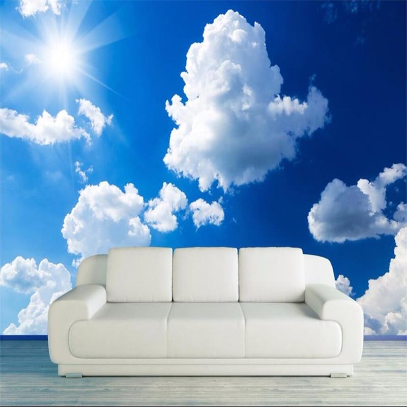 Us 8 8 51 Off Langit Biru Dan Awan Putih Minimalis Modern Lukisan Dinding Kertas Dinding Ruang Tamu Theme Hotel Papel De Parede 3d Kamar Wallpaper