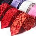 2016 Marca Famosa 7 CM Vermelho Marrom Magro Tie + Clip para Prendedor de Gravata Gravata Dos Homens Tecido Jacquard Paisley Floral Festa de casamento Presente CAIXA