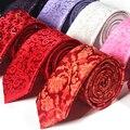 2016 Marca de Fábrica Famosa 7 CM Maroon Delgado Lazo Rojo + Clip para Del Banquete de boda de Los Hombres Tejido Jacquard Paisley Floral Regalo de Clip de Corbata Gravata CAJA