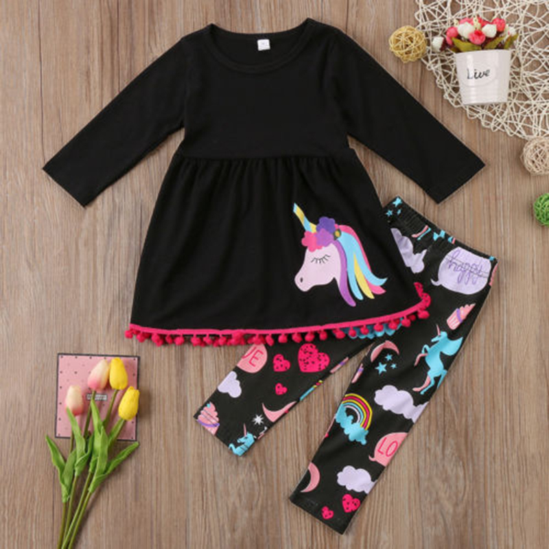 Baby-Girls-Outfits-Cartoon-Unicorn-Toddler-Set-Long-Sleeve-Printing-T-Shirts-And-Pants-Black-Kids