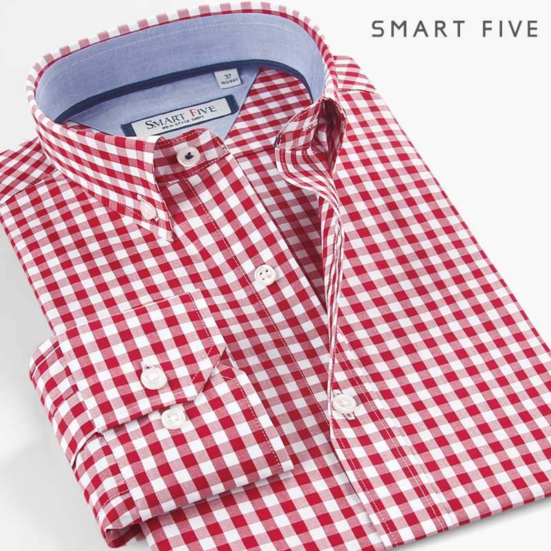 Smart Five Shirt Men Imported Fashion Chemise Homme Plaid Casual Shirts Slim Fit Long Sleeve Camisa Masculina 100% Cotton 2018