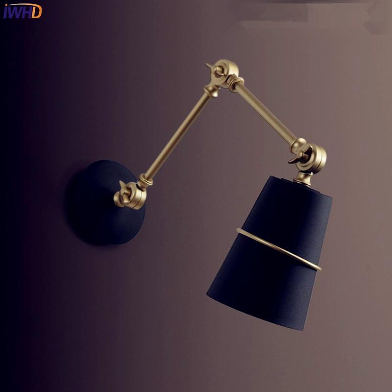 IWHD Nordic Iron Swing Long Arm Wall Light Living Room Beside Lamp Modern LED Wall Lights Sconce Arandela Apliques Pared