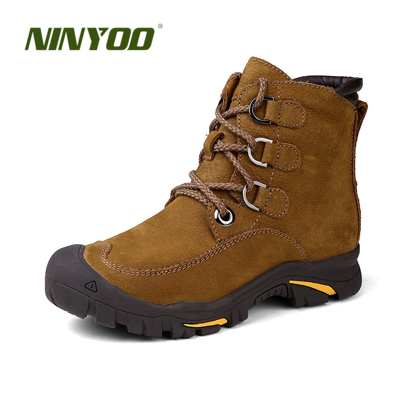 NINYOO Wearproof Men Winter Boots Genuine Leather Snow Boots Waterproof Outdoor Ankle Winter Shoes Men Anti-cold Plus Size 48 49