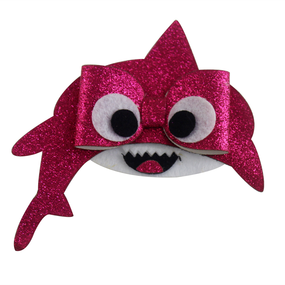 4 inch cartoon pink baby shark Sweet Barrettes hairpins Shining Synthetic Leather Hair Bows Clips Hair Accessories for girls